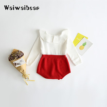 Infant Newborn Baby Rompers  Autumn Winter Warm Knit Sweater Jumpsuits Long Sleeve Girl Clothes