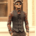 2016 New Men Slim Double Breasted Woolen Waistcoat V Neck Solid Color Sleeveless Jacket Dark Grey/Khaki Waistcoat W411