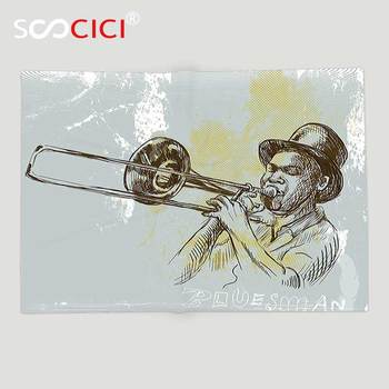 Custom Soft Fleece Throw Blanket Jazz Music Decor Trumpet Player Illustration Rock and Roll Party Classic Artful ation Gray