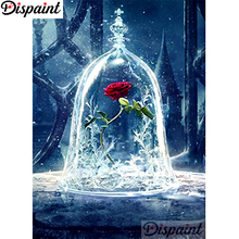 Dispaint Full Diamond Embroidery Red rose Painting Cross Stitch Patterns Rhinestone Unfinished Home Decor A10662