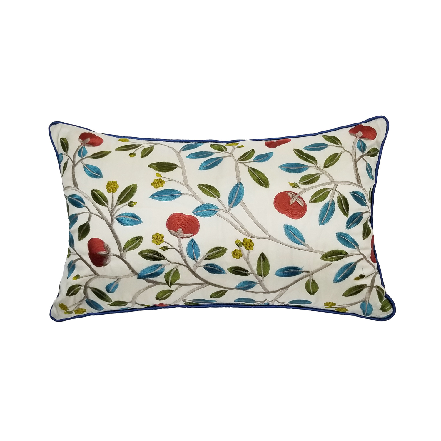Luxurious Silk-like Embroidery Cushion Cover Blue Red Apple Flower Sofa Decorative Lumbar <font><b>Pillow</b></font> <font><b>Case</b></font> <font><b>30x50</b></font> cm Sell by piece image