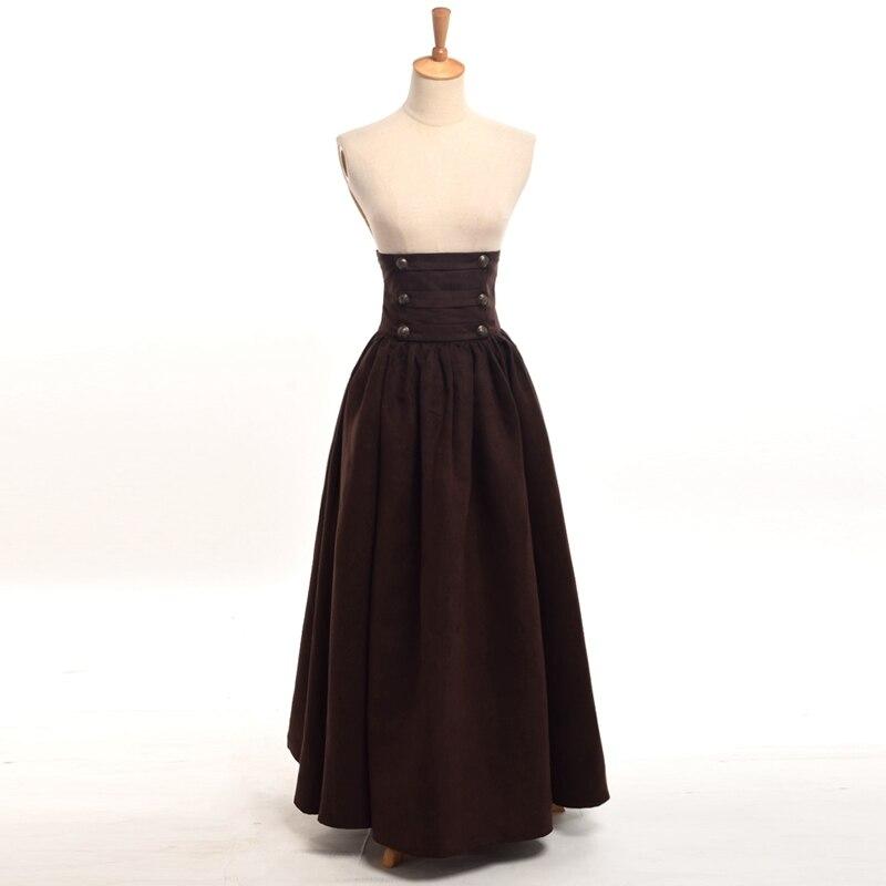 Vintage Женская Длинные стимпанк Юбка в стиле викторианской готики высокой талией Walking Тонкий Юбка