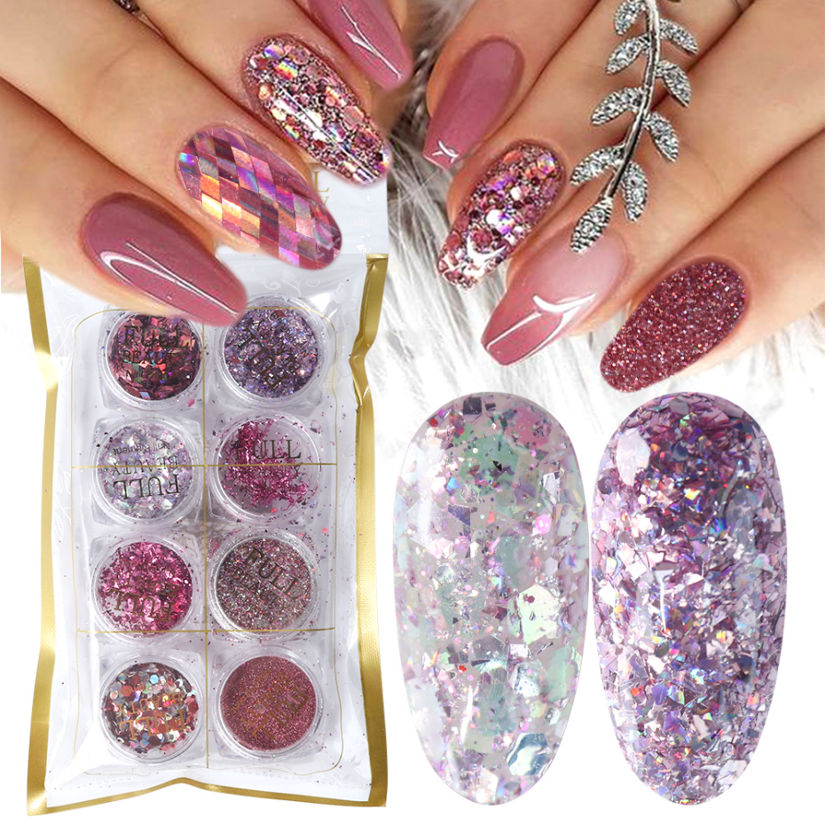 8 Box Mix Glitter Nail Art Powder Flakes Set Holographic Sequins for Manicure Polish Nail Decorations Shining Tips LA1506 05 1-in Nail Glitter from Beauty & Health
