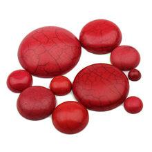 Cabochon en pierre naturelle demi-ronde rouge, 6-30mm, perles à dos plat pour la fabrication du matériau bijoux à bricoler soi-même, F2047, 50 pièces/paquet