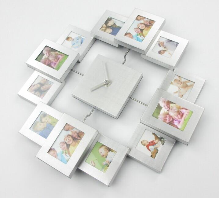 Diseño moderno foto Marcos reloj con 12 cuadros metal decorativo ...