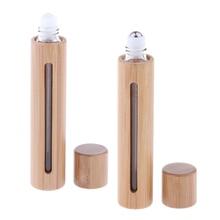 Портативный 10 мл пустой роликовый чехол для бутылки с держателем многоразового использования флакон аромата духов контейнер бамбуковая оболочка