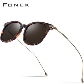 7addbb9d2a Gafas de sol polarizadas de acetato de titanio puro B hombres 2019 nueva  marca de moda diseñador Vintage cuadrado espejado gafas de sol para mujer
