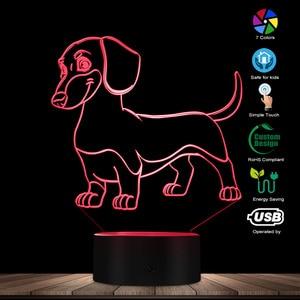 Image 2 - 소시지 개 닥스 훈트 키드 룸 나이트 라이트 테이블 램프 위너 개 애완 동물 강아지 빛나는 LED 착시 램프 장식 조명