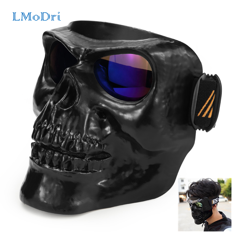 LMoDri Motorcycle Goggles Helmet Mask Outdoor Riding Motocross Skulls Windproof Wind Glasses Sandproof Goggle Kinight Equipment wanke wk 11 outdoor motorcycle riding cool windproof goggles black transparent