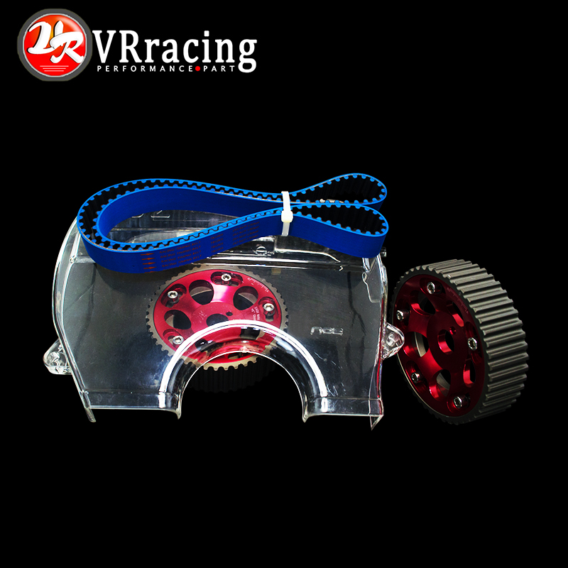 VR RACING - HNBR Racing Timing Belt BLUE + Aluminum Cam Gear Red + Cam Cover FOR Toyota 1JZ 1JZGTE 1JZ-GTE VR-TB1005B+6531R+6336 vr racing hnbr racing timing belt aluminum cam gear clear cam cover for mitsubishi lancer evolution evo 9 ix mivec 4g63
