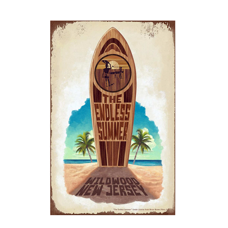 Buy now Beach Surfboard Tin Signs Retro Colorful Surfboard Metal Plaques Signs 20x30 CM Bar Cafe Home