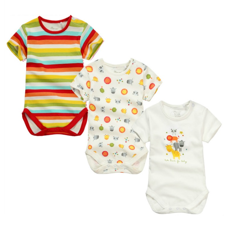 3pieces/lot Baby Boys Girls short sleeve Rompers 2017 Newborn Baby's Clothes Kids Costume Jumpsuit&Rompers KF154 2017 lovely newborn baby rompers infant bebes boys girls short sleeve printed baby clothes hooded jumpsuit costume outfit 0 18m