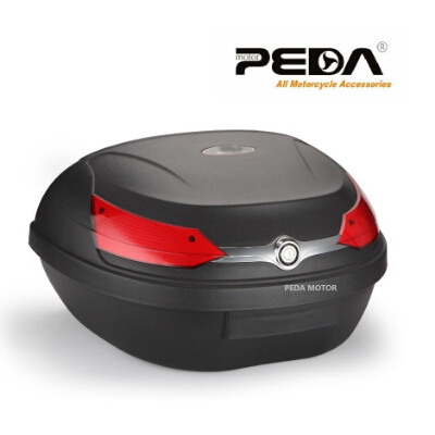 PEDA YM51L-818 Motorcycle Topcase Non-Broken PP Tail Box 59.5*44*32 cm Scooter Cargo Case Carrier Box Topcases Carrier Box motorcycle bikes battery box black pp shell