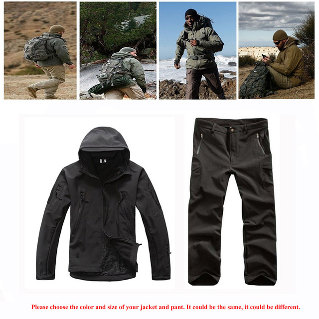 Outdoor Sport Softshell Jackets Or Pants Men Hiking Hunting Clothes TAD Camouflage Military Tactical Sets Camping Hunting Suits  1