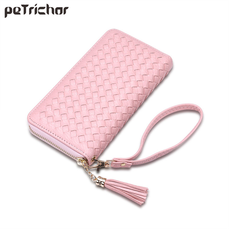 2017 New Weave Tassel Day Envelope Clutch Bag Braid PU Leather Brand Design Long Pink Wallet For Women Female Fashion Purse Girl