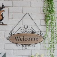 Metal iron and wood Rural retro wrought iron decorative logs listed fashion shops bar welcome close board