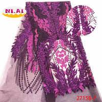 Nouveauté femmes dentelle tissu, Applique pourpre Nigeria dentelle, mariage Tulle dentelle tissu Mr2715b