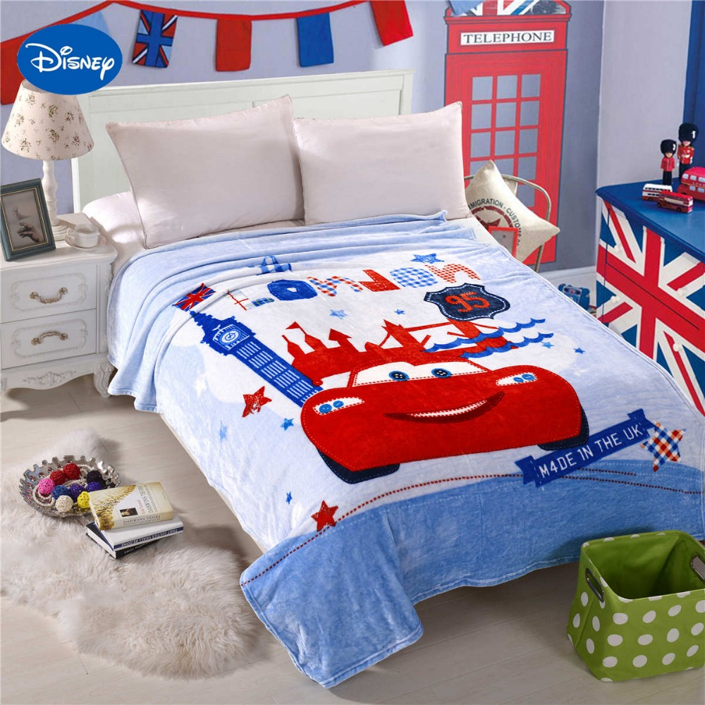 Disney Cartoon Character McQueen Cars London Bridge Print Blankets Bedding  150*200CM Size Boys Home
