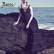 INDRESSME 2017 New Arrival Lace-Up Studded Hollow Out Sleeveless Bandage Gown Summer Dress