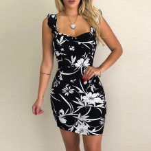Новое Женское летнее платье без рукавов с цветочным принтом и эластичной талией, повседневные пляжные вечерние мини-платья, модные пляжные облегающие платья