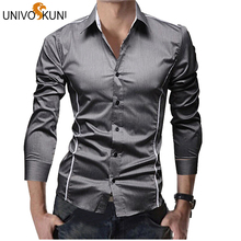 QISHA Elasticity Slim Fit Men Dress Casual Long Sleeved White Black Blue Red Male