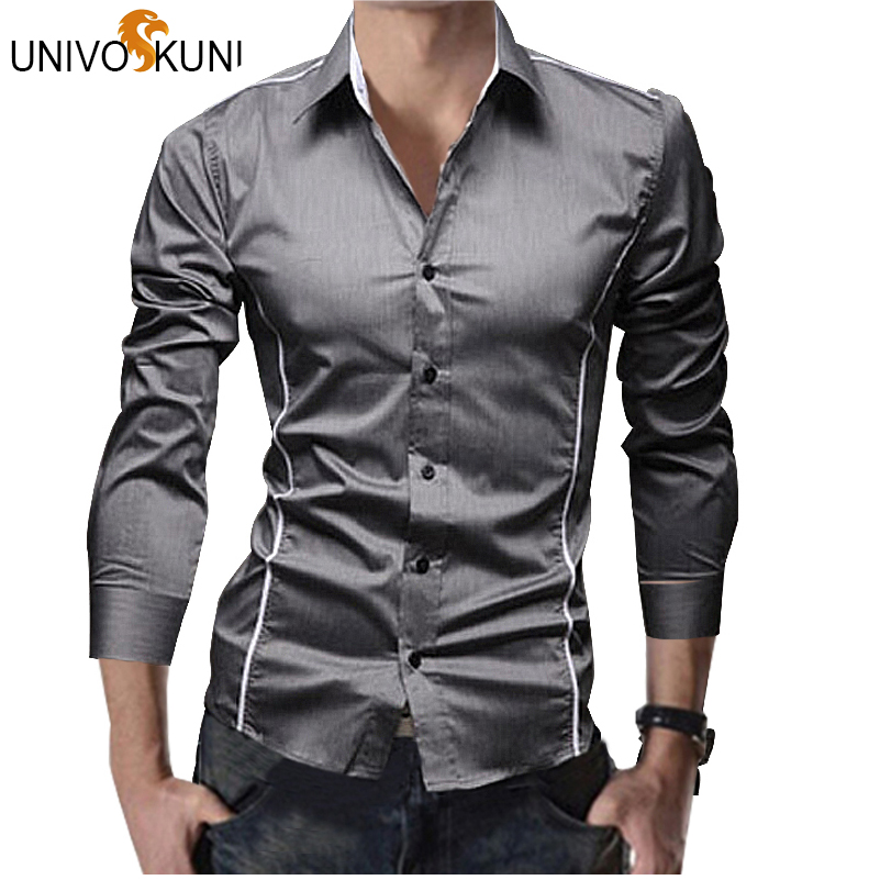 UNIVOS KUNI Men Striped Shirt Long Sleeve Fashion Spring Dress Camisa Social Shirt Slim Fit Mens Formal Shirts Plus Size Q5113