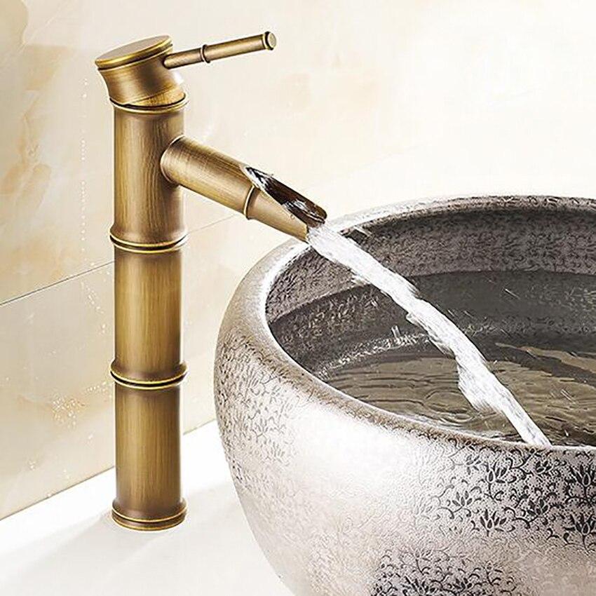 Европейский антикварный кран для ванной комнаты, латунные краны для раковины, кран с высоким бамбуком, для горячей и холодной воды, с двумя т...