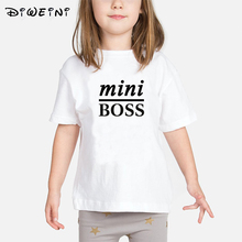 Mini Boss Letter Print T Shirt for Baby Girls 2019 Summer Clothes Child Round Neck White T-shirts Kids Cotton Short Sleeve Tops casual letter print round neck t shirt pants twinset for kids
