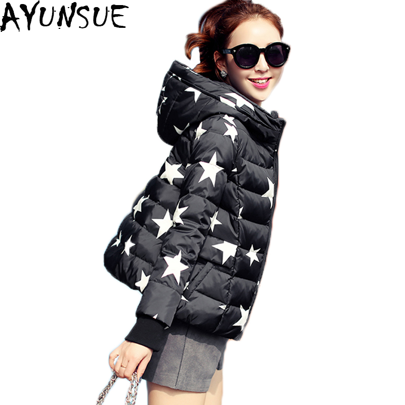 AYUNSUE Parkas For Winter Women 2018 Hot Sale Short Cloak Women's Duck Down Jacket Star Print Hooded Abrigos Mujer S-2XL LX352
