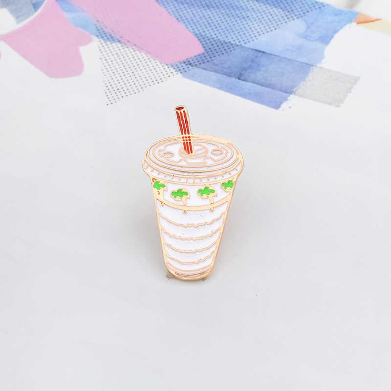 Kartun Cangkir Minuman Bros Kelapa Pohon Kelapa-Minum Enamel Logam Pin Gesper Jaket Kemeja Topi Fashion Perhiasan Hadiah untuk Anak-anak