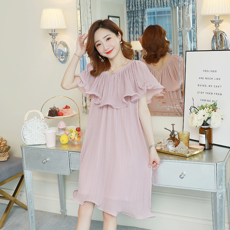Maternity Clothes Dress 2018 Summer Dress For Pregnant Women Pleated Chiffon Elegnant Preggnancy Dresses Pre-mother Dress Out
