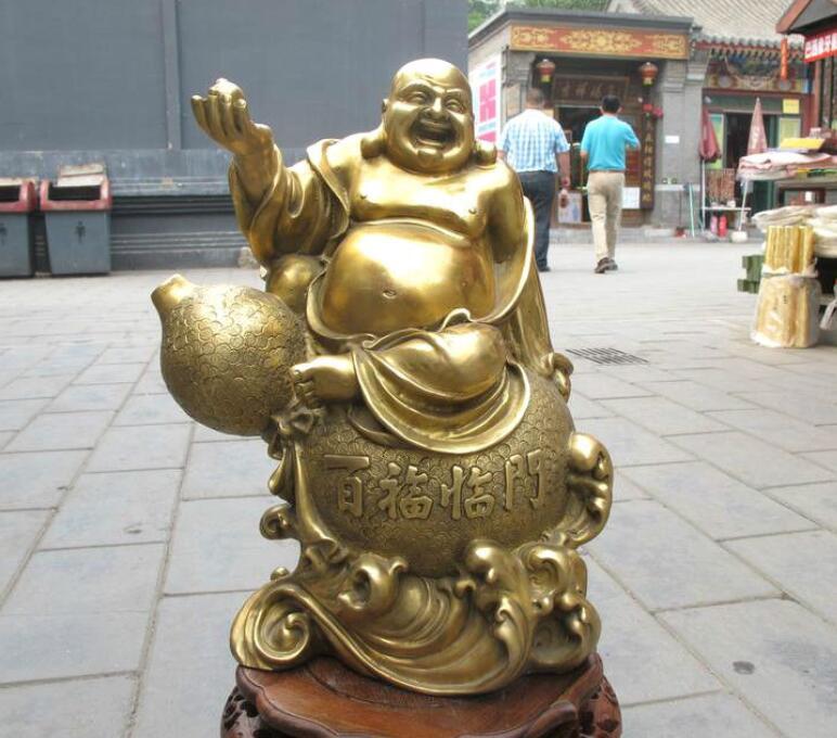 Argent en laiton chinois richesse rire Maitreya bouddha sur la Statue dart de gourde favonienneArgent en laiton chinois richesse rire Maitreya bouddha sur la Statue dart de gourde favonienne