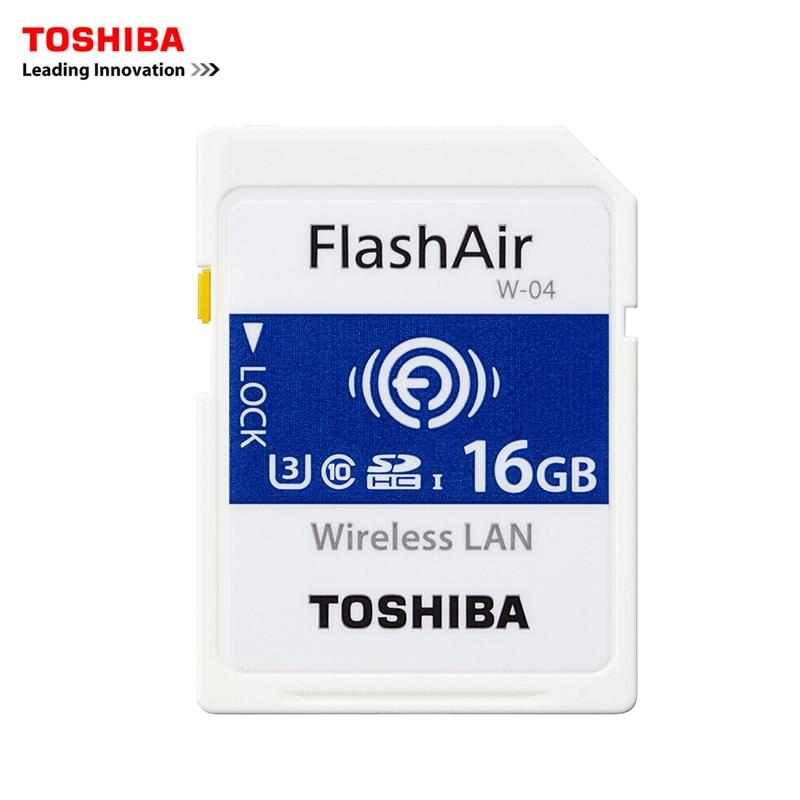 TOSHIBA FlashAir W 04 Memory Card Wireless LAN 16GB WI FI SD Card U3 UHS Speed Class 3 Wireless SD Memory Card Wifi SD Card-in Memory Cards from Computer & Office    1