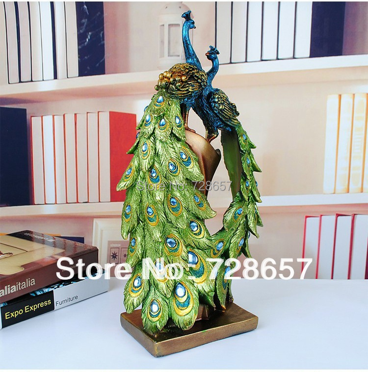 Traditional Chinese Peacock Couple Sculpture Lovers Peacock Statue Mascot Craft Ornament Wedding Decoration Valentine's Day Gift-in Statues & Sculptures from Home & Garden    3