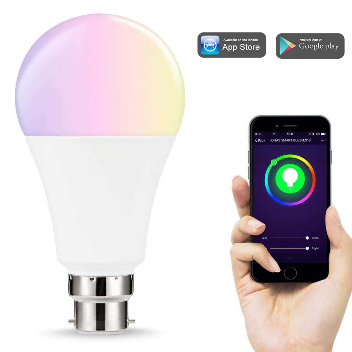 WiFi B22 Smart Light Bulbs 14W Equal to 100W LED Bulb RGB+Cool White Colour Changing Mood LightWorks with Alexa and Google Home