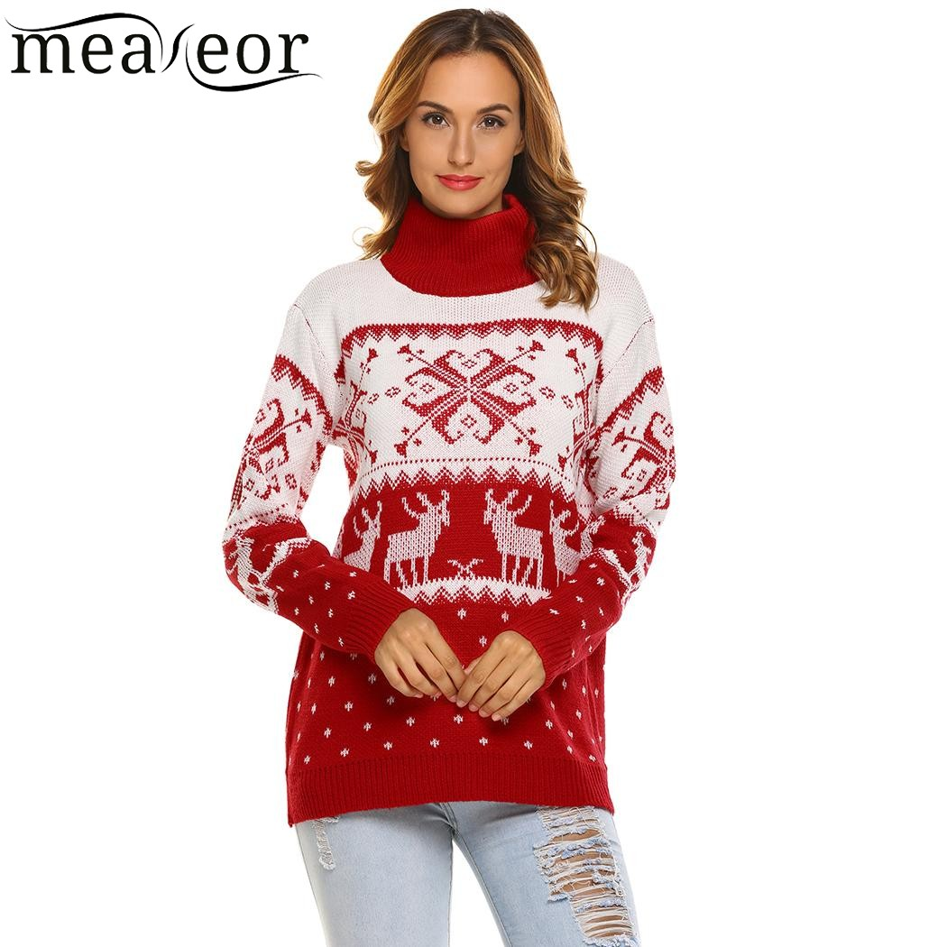 Meaneor Women Warm Sweaters Christmas Knitted Pullover Turtleneck Soft Jumper Long Sleeve Reindeer Pattern Autumn Winter Sweater