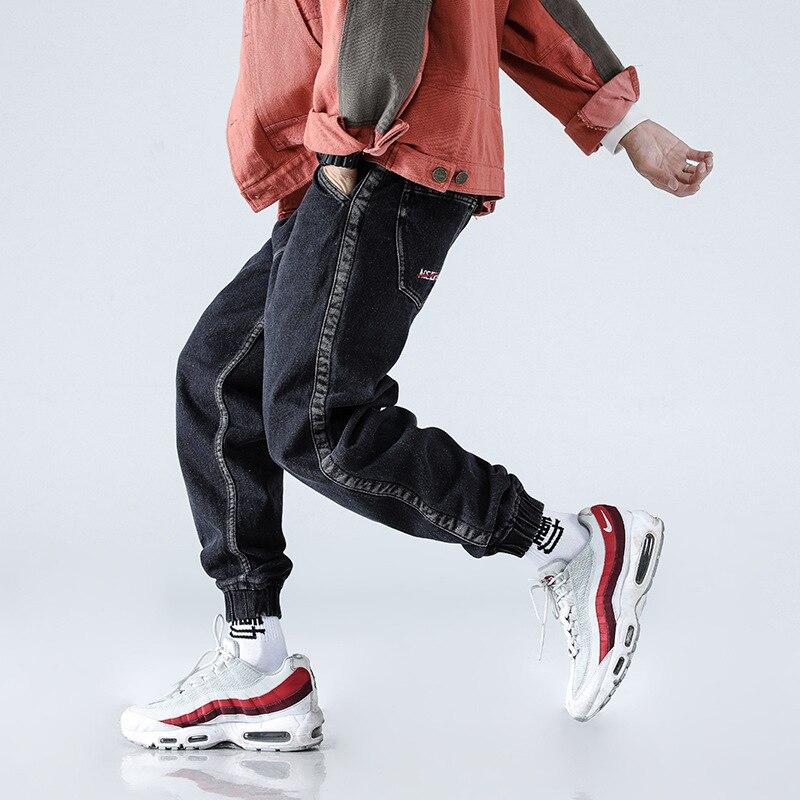 2018 Fashion Autumn Winter   Jeans   Men Black Color Loose Fit Japanese Style Cargo Pants Side Stripe Spliced Hip Hop Jogger   Jeans