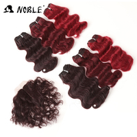 Noble 8 Inch Synthetic Hair 7pcs Pack Body Wave Hair Synthetic Black Ombre Hair 6Bundles With