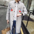 Fashion British Style Brand Bird embroidered Mens Overcoat Designer Long Trench Coat Men Windbreaker Jacket Abrigo Hombre Largo