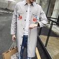 Moda Estilo Britânico Marca Pássaro bordado Mens Designer De Casaco Longo Homens do Revestimento de Trincheira Blusão Jaqueta Abrigo Hombre Largo