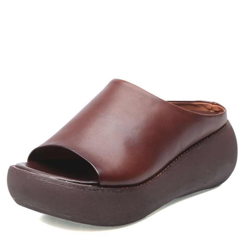DRKANOL el yapımı Retro kadınlar hakiki deri terlik yaz burnu açık takozlar platform sandaletler terlik kadın dış slaytlar