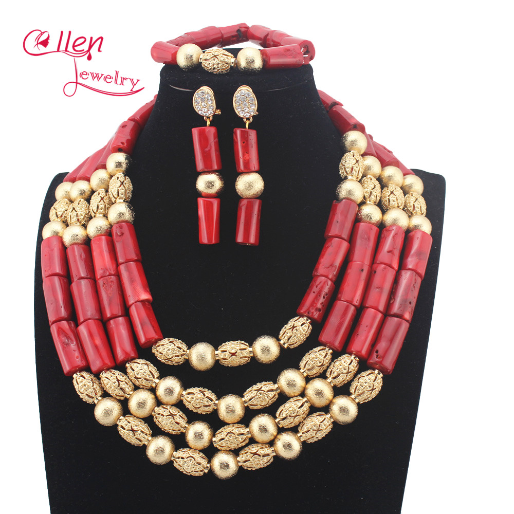 New Red Coral Beads African Nigerian Wedding Jewelry Sets Silver Plated Costume Indian Bridal Necklace Set Free Shipping W14042New Red Coral Beads African Nigerian Wedding Jewelry Sets Silver Plated Costume Indian Bridal Necklace Set Free Shipping W14042