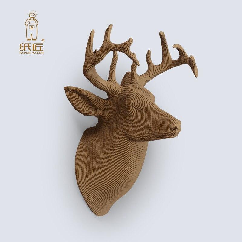 2018 Бумага Maker голова оленя 3D Puzzle хобби Бумага Craft детей DIY картон животных Игрушечные лошадки развивающие игры для детей Бумага craft