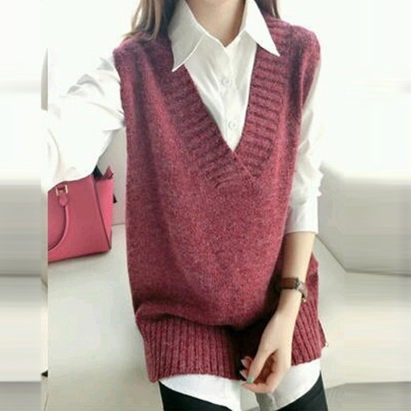 V Neck Sweater Vest Women 19