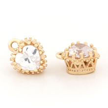 (33165)6PCS 7*9*5MM Brass with Zircon 24K Champagne Gold Color Plated Heart Charms Pendants Jewelry Findings Accessories