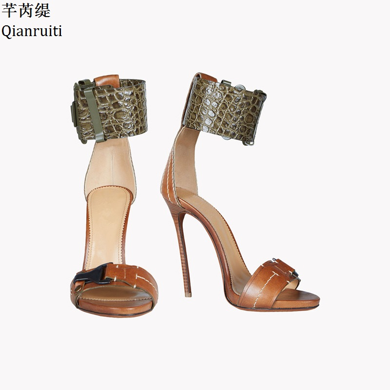 Qianruiti Summer Style High Heels Gladiator Sandals Mixed Colors Stiletto Heels Women Shoes Sexy Ankle Buckle Strap Women Pumps