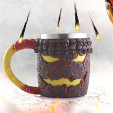 100% Brand New High Quality 3D Coffee Mug Resin Tankard Viking Skull Double Wall Christmas Cup Drop Shipping(China)