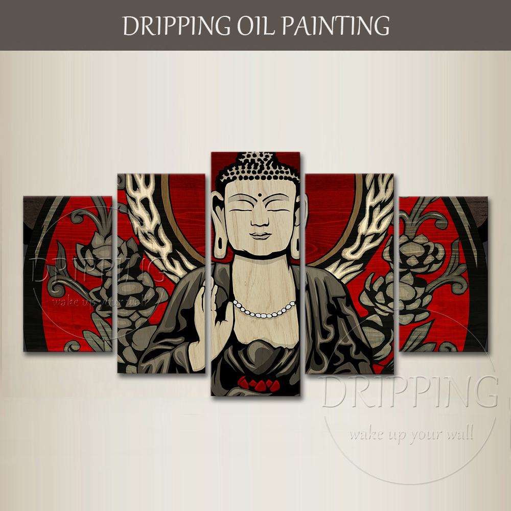 Skilled Artist Hand-painted High Quality 5 Pieces Buddha Portrait Oil Painting on Canvas Combined Wall Art Buddha Oil Painting