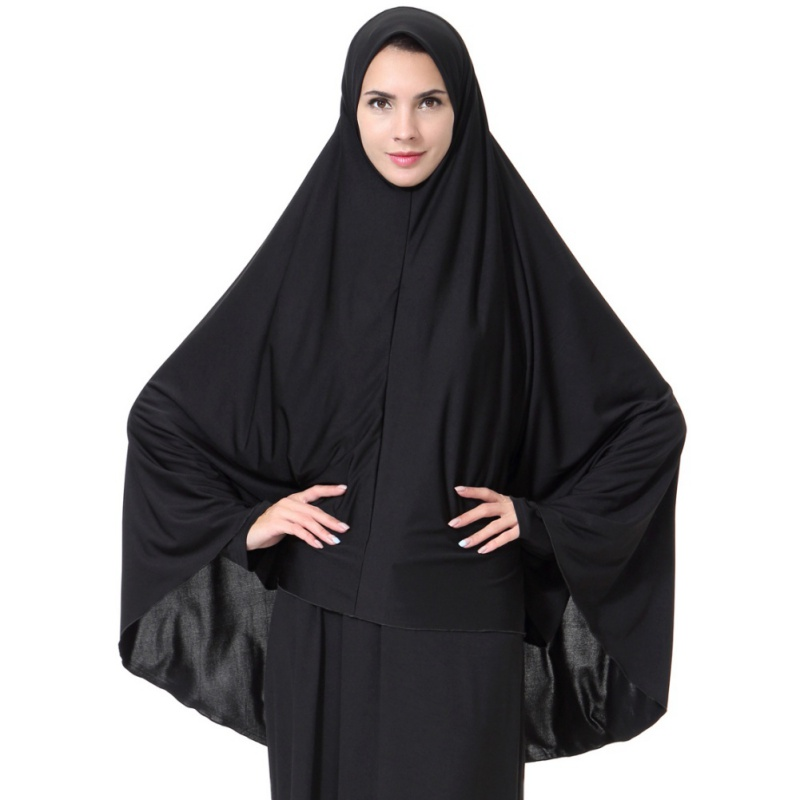 Black Face Cover Abaya Islamic Khimar Muslim Clothes Headscarf Robe Kimono Instant Long Hijab Arab Worship Prayer Garment New W3