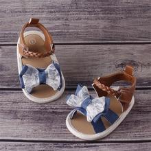 Сандалии для девочек летние для маленьких девочек обувь Хлопок Холст пунктирной лук сандалии для девочек новорожденных обувь Playtoday пляжные сандали